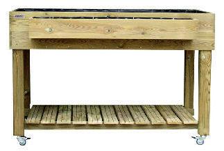 Huerto urbano en madera y metal abonos y semillas ecol gicas - Mesa de cultivo leroy ...
